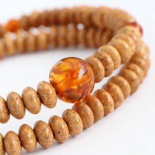 数珠ブレスレット 108玉 みかん玉 天竺菩提樹 琥珀 107000302 送料無料