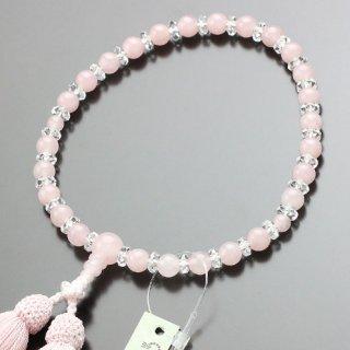 数珠 女性用 約7ミリ ローズクォーツ 平切子水晶 交互 正絹頭付松風房 102000121 送料無料