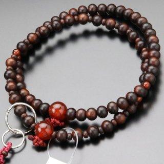 浄土宗 数珠 女性用 8寸 紫檀(艶消し)瑪瑙 本銀輪 梵天房 102550058