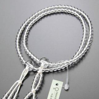 日蓮宗 数珠 女性用 8寸 本水晶 梵天房(白色)102660037 送料無料
