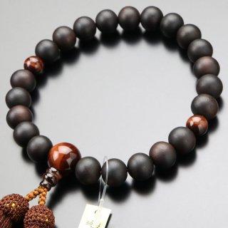 数珠 男性用 22玉 縞黒檀(艶消し) 赤虎目石 正絹房 101220200