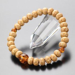 数珠ブレスレット 尺玉 みかん玉 天竺菩提樹 琥珀 107000306 送料無料