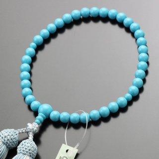 数珠 女性用 約7ミリ トルコ石 正絹2色房 102070047