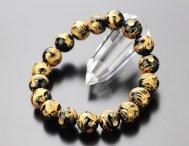 約12ミリ 龍彫り(金色)オニキス ストレート 天然石ブレスレット【数珠】【送料無料】