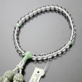 数珠 女性用 約7ミリ 本水晶 ビルマ翡翠 正絹房 102070167 送料無料