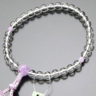 数珠 女性用 約8ミリ 上質 本水晶 藤雲石 正絹2色房 102080013 送料無料