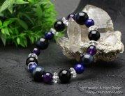 12ミリ 青虎目石 10ミリオニキス 8ミリラピス・紫水晶 そろばんカット水晶(4×8) 【108120183】
