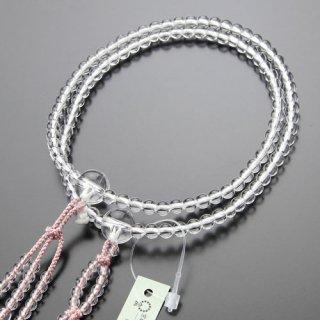 日蓮宗 数珠 女性用 8寸 本水晶 梵天房(灰桜)102660004 送料無料