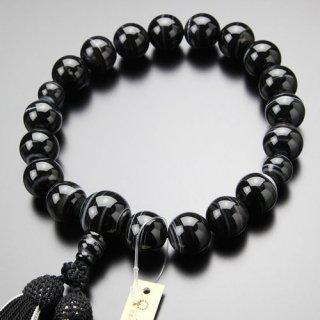 数珠 男性用 18玉 黒縞瑪瑙 正絹房(4匁)101180035 送料無料