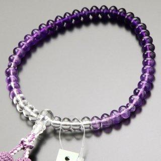 数珠 女性用 みかん玉 紫水晶 グラデーション 正絹2色房【略式数珠/アメジスト】【送料無料】