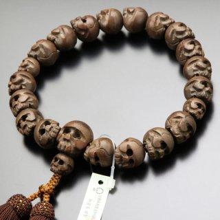 数珠 男性用 18玉 髑髏彫り 柘植 正絹房 101180012 送料無料
