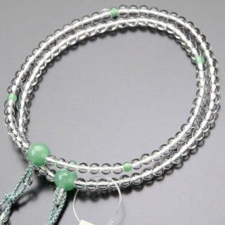 八宗派兼用 数珠 女性用 8寸 本水晶 印度翡翠 正絹2色房 102880123 送料無料