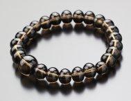 みかん玉 茶水晶(約8×10ミリ) 数珠ブレスレット【 腕輪念珠 天然石】【送料無料】