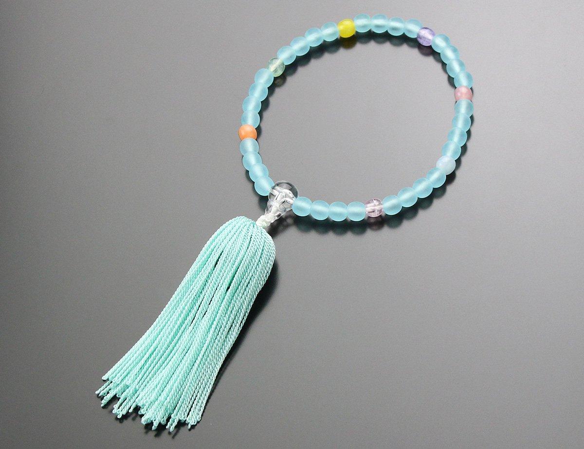 子供用 数珠 7色ポイント ≪ブルー房≫【子ども用 お子様向け 念誦】