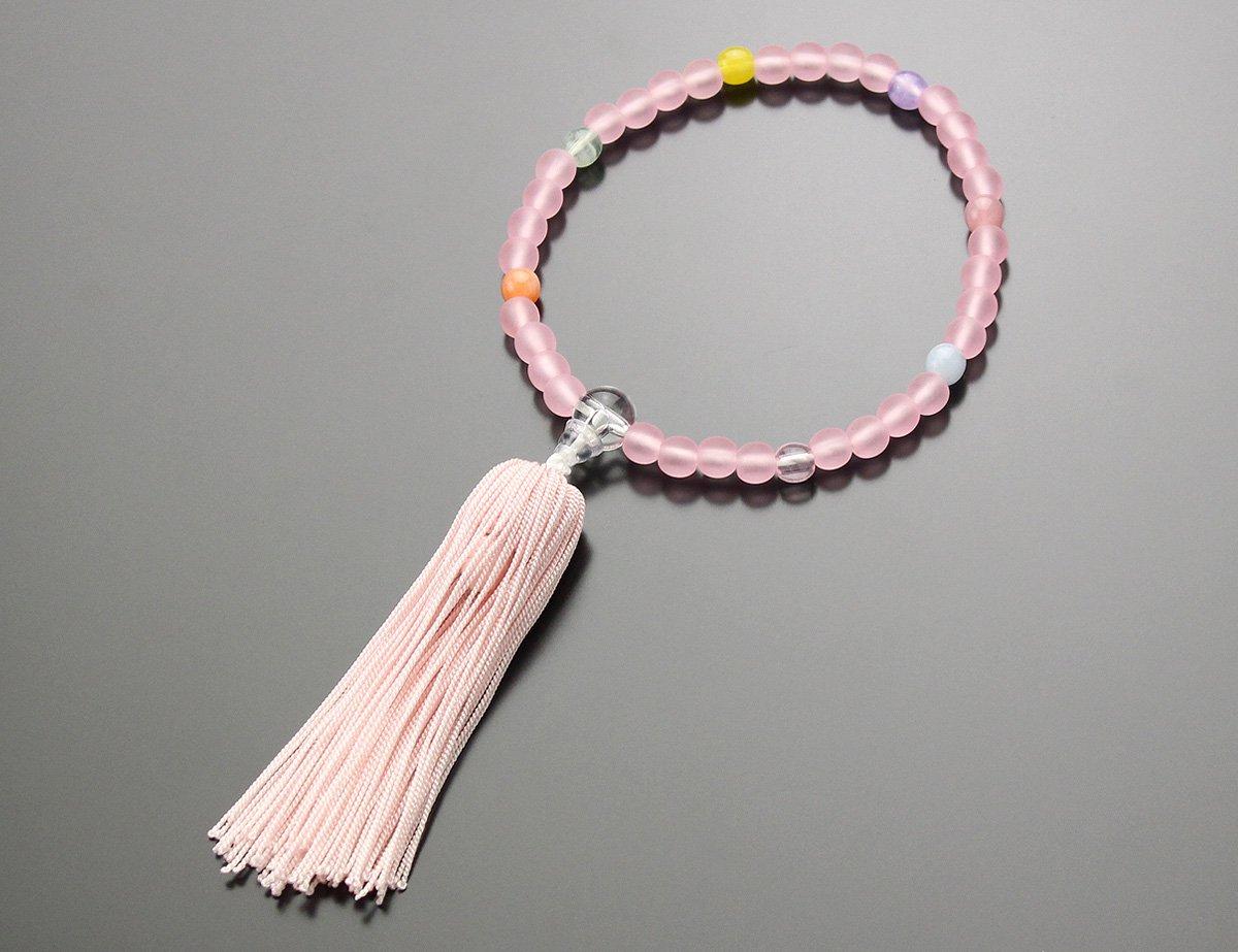 子供用 数珠 7色ポイント ≪ピンク房≫【子ども用 お子様向け 念誦】