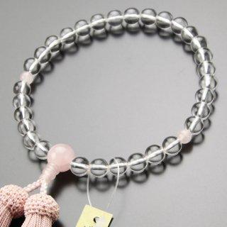数珠 女性用 約8ミリ 本水晶 ローズクォーツ 正絹房 2000200100065