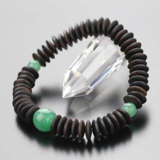 数珠ブレスレット 54玉 平玉 縞黒檀 印度翡翠 107000007