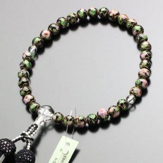 数珠 女性用 約8ミリ 七宝焼(黒)本水晶 正絹2色房 2000200300977 送料無料