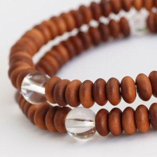 数珠ブレスレット 108玉 白檀 本水晶【数珠ブレス 腕輪念珠 クォーツ 香木 天然石】【送料無料】