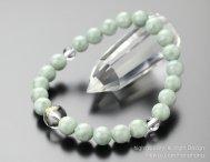 数珠 ブレスレット 守り本尊梵字(約10ミリ・本水晶)約8ミリ ビルマ翡翠【腕輪念珠/5月の誕生石】
