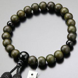 数珠 男性用 22玉 緑檀(生命樹)オニキス 正絹房 101200062