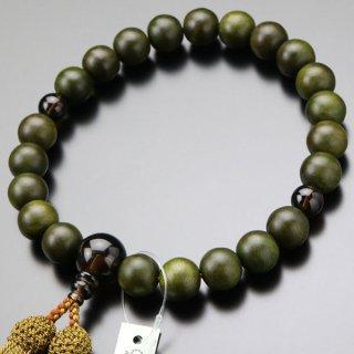 数珠 男性用 22玉 緑檀(生命樹)茶水晶 正絹房 101220034 送料無料