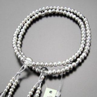 真言宗 数珠 女性用 8寸 グレー 淡水パール 本水晶 梵天房 2000400100315 送料無料
