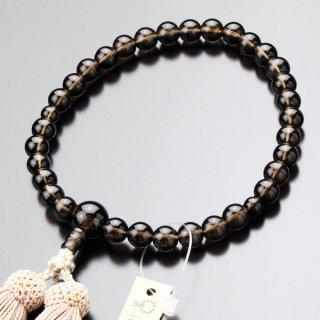数珠 女性用 約8ミリ 茶水晶 正絹房 102080021