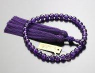 鑑別書付き 数珠 女性用 約8ミリ 紫水晶 正絹松風房 2000200800187 送料無料