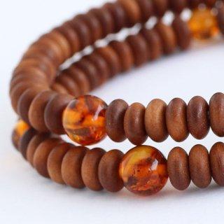 数珠ブレスレット 108玉 白檀 琥珀 2000800301534 送料無料