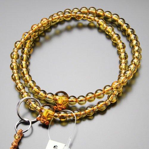 浄土宗 数珠 女性用 8寸 黄水晶 梵天房【本式数珠 11月の誕生石 シトリン】【送料無料】
