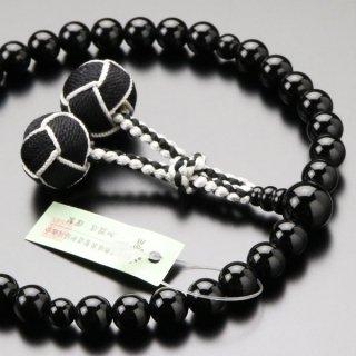 数珠 女性用 約8ミリ 黒オニキス 2色梵天房 2000200301004