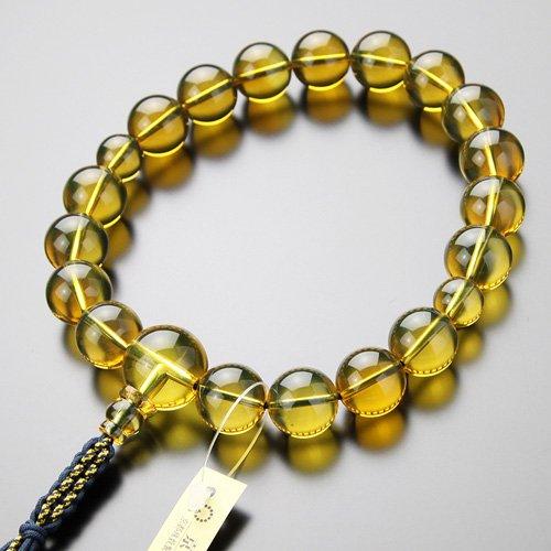 数珠 男性用 18玉 上質 ブルーアンバー 紐房【略式数珠】【琥珀】【送料無料】
