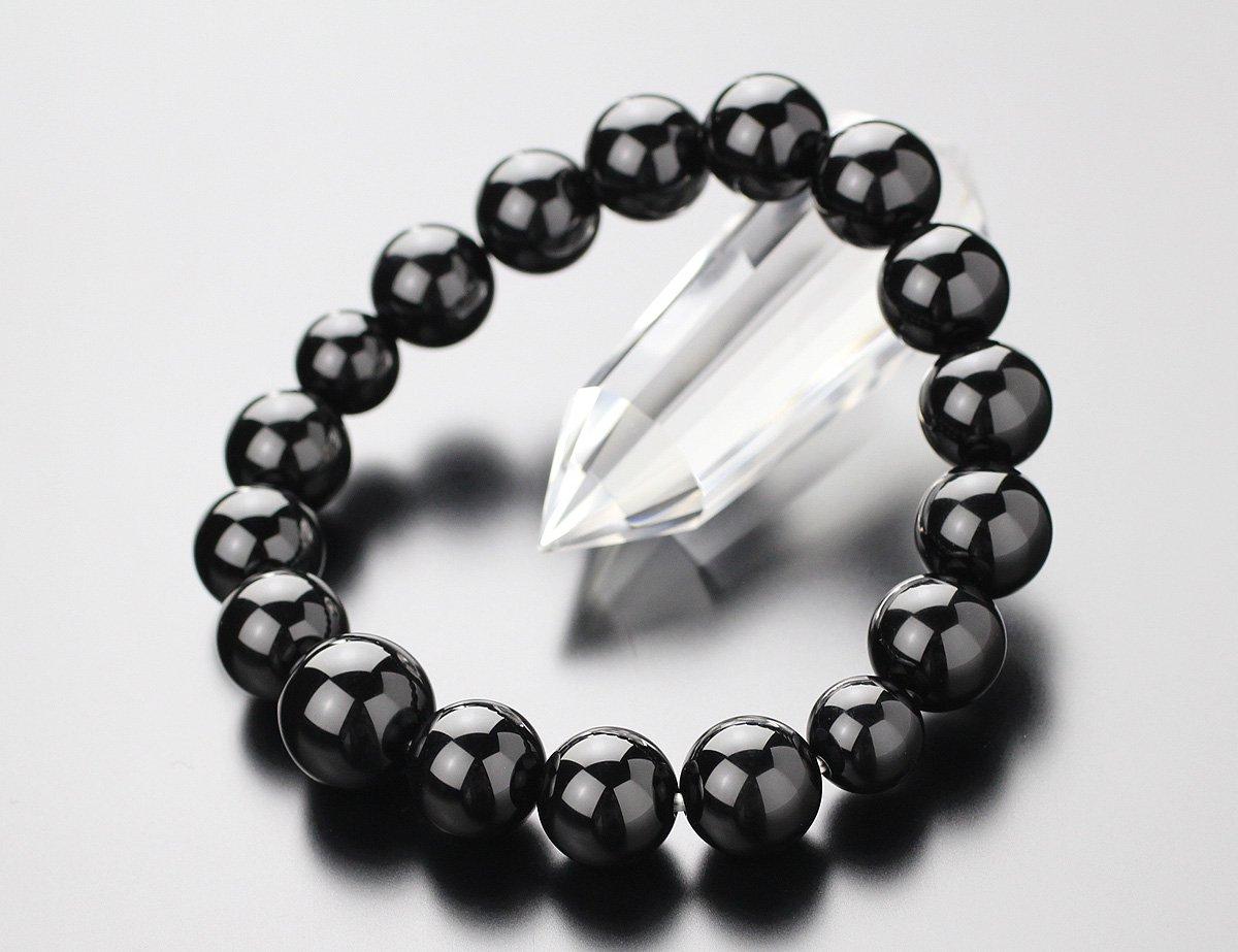 数珠ブレスレット 約12ミリ 黒オニキス【腕輪念珠 ブラックオニキス 天然石 パワーストーン メンズ 107120007】【送料無料】