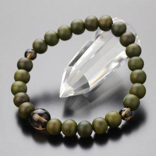 数珠ブレスレット 約8ミリ 緑檀 茶水晶 107080048