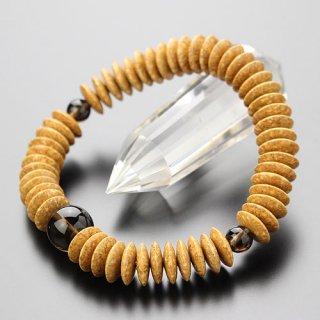 数珠ブレスレット 54玉 平玉 天竺菩提樹 茶水晶 107000028 送料無料
