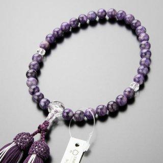 数珠 女性用 約8ミリ 上質 チャロアイト カット水晶 正絹2色房 2000200600725 送料無料