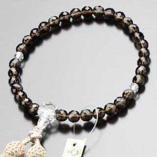 数珠 女性用 約8ミリ カット茶水晶 カット水晶 正絹房 2000200301127 送料無料