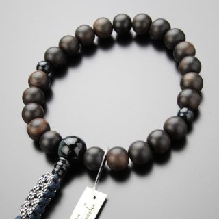 浄土真宗 男性用 数珠 22玉 縞黒檀 青虎目石 紐房 2000100200322
