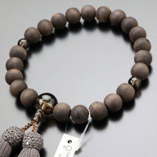 数珠 男性用 22玉 黒檀(素引き)茶水晶 正絹房 2000100200391