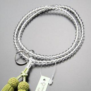 曹洞宗 数珠 女性用 8寸 本水晶 本銀輪 正絹房(若草色)102440001 送料無料