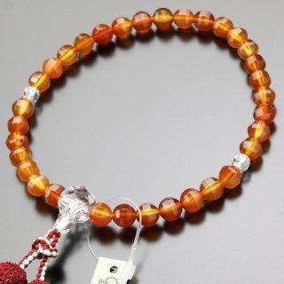 数珠 女性用 約8ミリ SPカット 天然瑪瑙 カット水晶 正絹2色房 2000200401186 送料無料