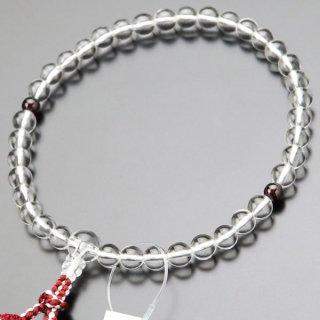 数珠 女性用 約7ミリ 本水晶 ガーネット 正絹2色房 2000200301165 送料無料