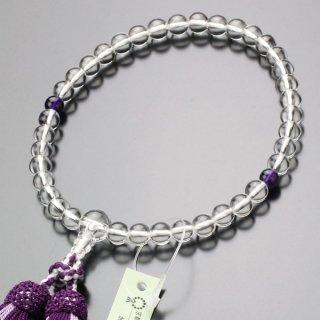 数珠 女性用 約7ミリ 本水晶 紫水晶 正絹2色房 2000200301196