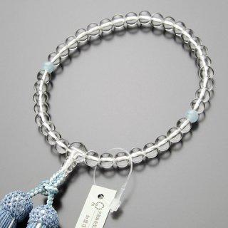 数珠 女性用 約7ミリ 本水晶 アクアマリン 正絹2色房【略式数珠 京念珠】【送料無料】