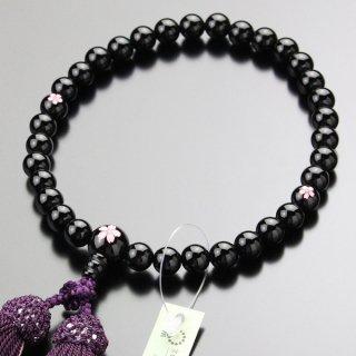 数珠 女性用 約8ミリ 黒オニキス 桜彫り 正絹2色房 2000200301141 送料無料