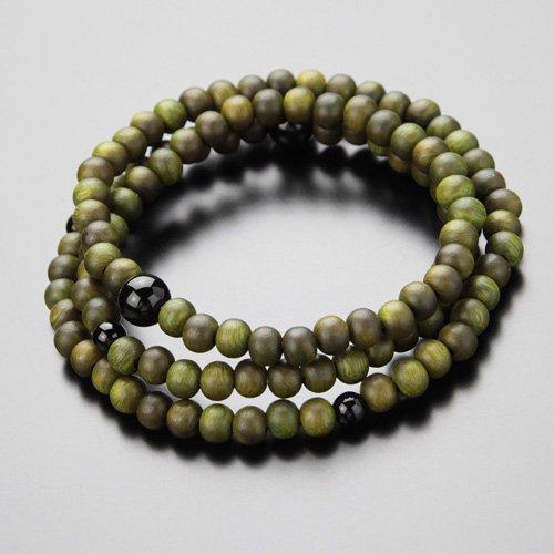 108玉 3重 数珠ブレス 緑檀 オニキス 数珠ブレスレット【生命樹】【送料無料】
