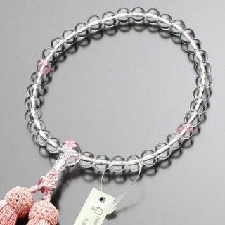 数珠 女性用 約8ミリ 本水晶 桜彫り 正絹房 2000200301233 送料無料