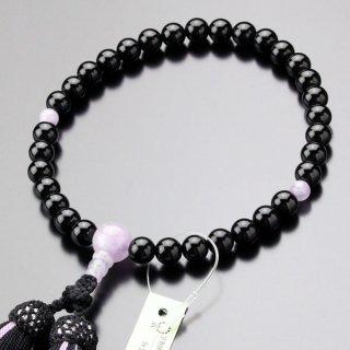 数珠 女性用 約8ミリ 黒オニキス 藤雲石 正絹2色房 2000200301271