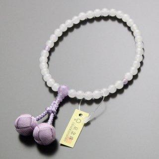 数珠 女性用 約7ミリ 白オニキス 藤雲石 梵天房 2000200200307
